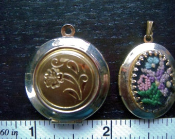 Vintage Lockets Lot of 2 - 1 Engraved Floral Design - 1 Hand Embroidered Design