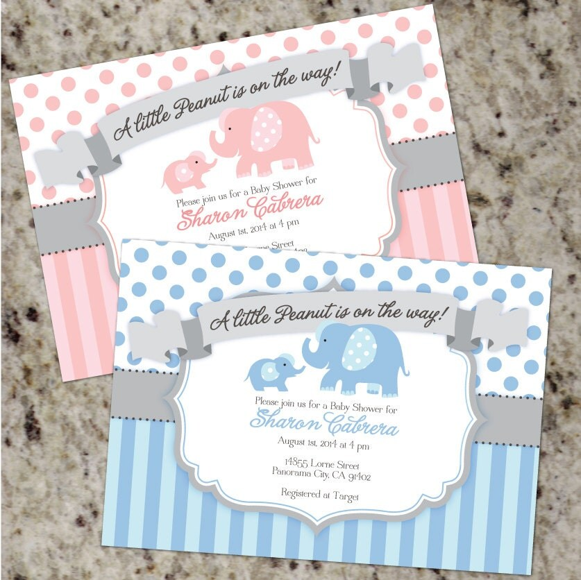 Elephant Themed Baby Shower: Baby Elephant Themed Shower Invitations Little Peanut Boy