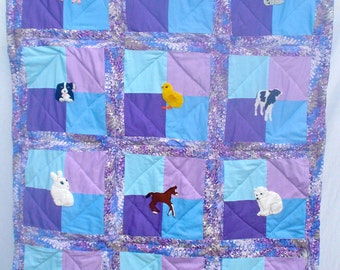 Baby Animals Crib Quilt, Hand Appliqued, Hand Quilted
