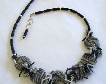 Black and White Striped Jasper Fringed Necklace