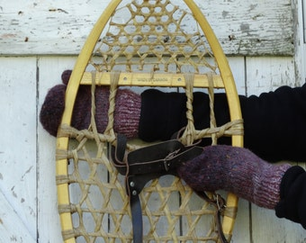 Mittens lined hand knit purple with hints of black m2
