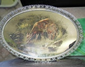 Mirror silver ornate vanity bath tray manly masculine decor deer in woods picture OOAK vintage