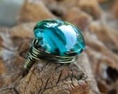 Dark Aqua Ring - To Order, Blue, Teal, Glass, Green, Heavy, Feminine, Unique, Atractive, Love, Valentine's Day, Aqua, Jewelry Rings, Stone