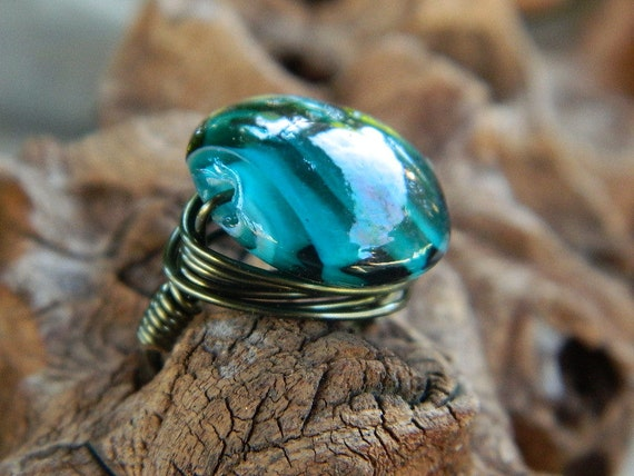 Dark Aqua Ring - To Order, Blue, Teal, Glass, Green, Heavy, Feminine, Unique, Atractive, Love, Valentine's Day, Aqua, Jewelry Rings, Stone