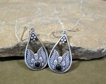 Silver Southwest Dangle Earrings, Native American Inspired Tribal Teardrop Hoop Bohemian Earrings