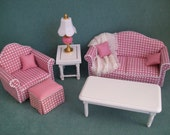 One Inch scale, Pink Checked Living Room Grouping for the dollhouse