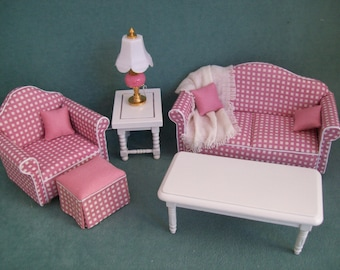 Reduced - One Inch scale, Pink Checked Living Room Grouping for the dollhouse