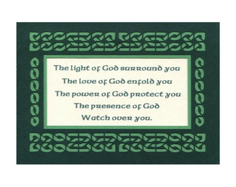 Celtic Blessing /The Light of God Paper Cut Celtic Knot Wall Art Wall Decor  5X7 Unframed