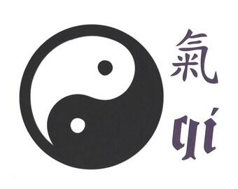 Yin Yang qi Wall Art  Paper Cut Art 10X8 unframed