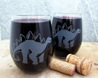 Stegosaurus Dinosaur |  Etched Stemless Wine Glass