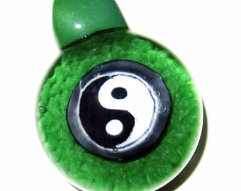 Forest Green Frit Implosion Yin Yang - Handblown Boro Glass Millifiori Pendant