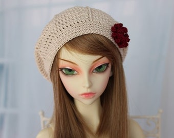 Tan Crochet Hat for SD BJD, 1/3 Dollfie, SD, Size 8-9