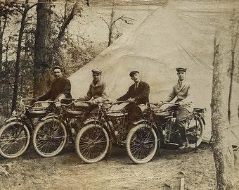 Bikers Vintage Photo. Digital, download, Ephemera, Motorcycles, Tent, camping, sepia, bikes, men, guys, harley, travel, woods, #14PM