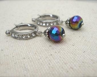 Earrings. Rhinestone Hoop Earrings. Sparkly Silver Rhinestone Earrings with Disco Ball Dangles. Lever-back Hoop Dangle Earrings