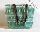 silk screened tote bag - Green Market Weave