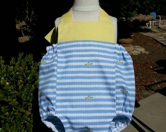 Romper for Baby Boys - Blue waves and yellow sailboats