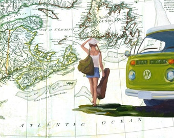 5x7 Greeting Card by Daina Scarola, Item #GC5X7-31 (vintage Nova Scotia map, wanderlust, green VW van, collage)