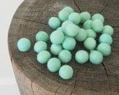 Felt Beads, DIY Mint Wool Beads, Felted, Blue Aqua Turquoise Needle Felting Craft Crafting Woodland