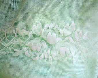 Vintage Lace Curtain Fabric French Country Sheer Mint Green 1930s 117 X 64 Inches