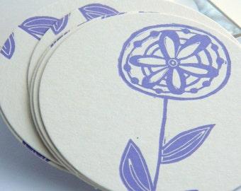 Rustic flower linocut letterpress drink coasters pk 20