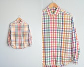 SALE / vintage '90s colorful spring PICNIC PLAID long sleeve oxford button-up shirt. size m l xl.