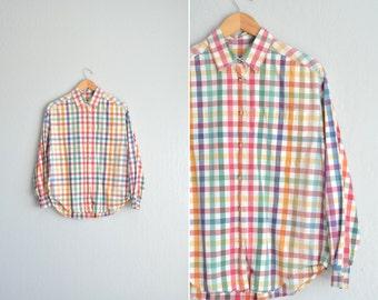 SALE / vintage '90s colorful spring PICNIC PLAID long sleeve oxford button-up shirt. size m l xl.