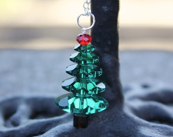Emerald green & cherry red crystal Christmas tree necklace - sterling silver chain, red and green Swarovski crystals - free shipping in USA