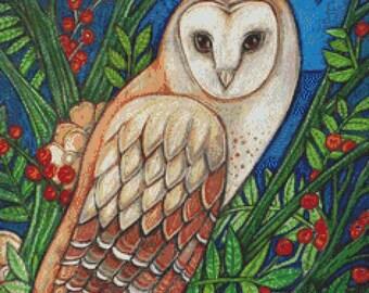 Cross Stitch Kit By Lynnette Shelley White Heart Barn Owl Needlecraft