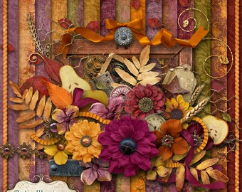 HARVEST GOLD - Digital Scrapbooking Kit - 15 Papers and 50 Plus Elements - Great Fall Kit -4.75