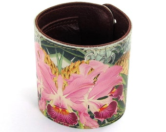 Leather cuff / wallet wristband / bracelet - Tropical Bloom