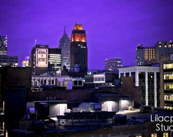 Detroit Skyline at Night Fine Art Photograph on Metallic Paper