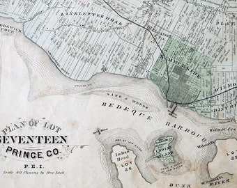 1880 Large Rare Vintage Map of Lot 17, Prince County, PEI. Showing Summerside, Miscouche, New Glasgow - Handcolored