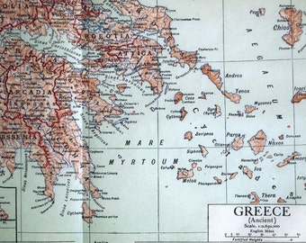 1911 Antique Map of Greece (Ancient)