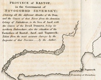1809 Antique Map of the Province of Rastof, Novogorod Seversky, Ukraine - Black-and-white map - Novogorod Seversky Antique Map