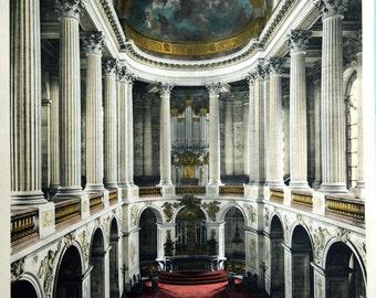 1920s Antique Print of the Chapel, Versailles