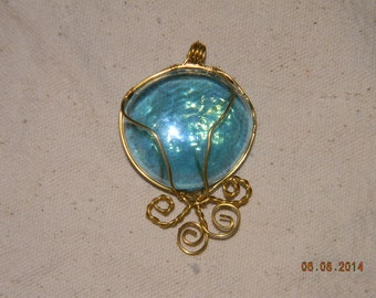 Wire Wrapped Blue Glass Pendant
