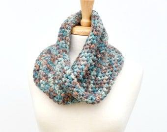 Twisted Cowl Scarf..Crochet Mobius Scarf..Bulky Loop Scarf..Teal, Brown