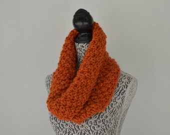 Chunky Cowl Scarf Knit Women Scarves Pumpkin Orange Autumn Scarf, Man's Scarf