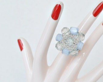 Light Blue and Clear Beaded Adjustable Ring Handmade From Vintage Earring