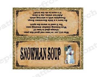 Printable Bag Topper Snowman Soup Vintage