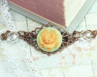 Rose Cameo Jewelry Rose Bracelet Orange Rose Jewelry Vintage Style Romantic Jewelry Rose Cameo Bracelet