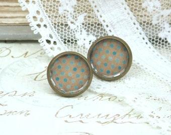 Polka Dot Earrings Aqua Blue Studs Blue Stud Earrings Vintage Style Polka Dot Studs Aqua Blue Earrings