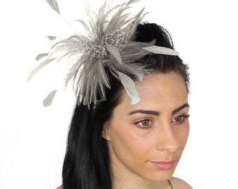 Cleo Metallic Silver Fascinator Hat for Weddings, Races, and Special Events With Headband(20 colours)