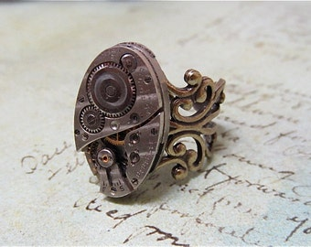 Ovoid - Steampunk Ring - Repurposed art