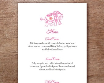 Pink Indian Elephant Printable Menu Template - Wedding Menu - Printable Menu Template - Menu Template - Menu Cards - Printable Menu PDF