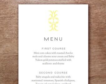 Gray & Yellow Ornament Modern Wedding Menu Template - Menu Card - Printable Menu Template - Menu Template - Menu Cards - Printable Menu PDF
