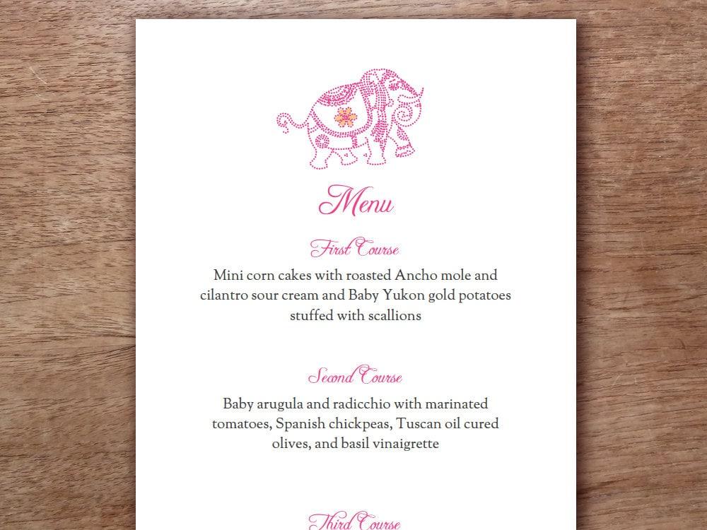Pink Indian Elephant Printable Menu Template Wedding
