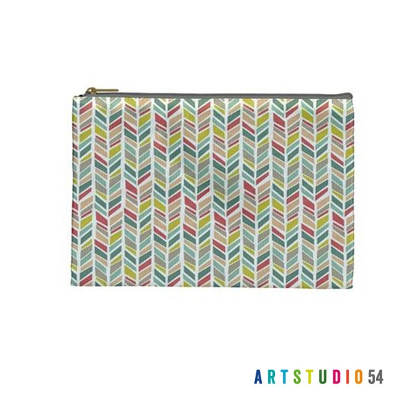 "Pink Teal Yellow Feather on a Pouch, Make Up, Cosmetic Case Travel Bag Pencil Case - 9"" X 6"" -  Large -  Made by artstudio54"