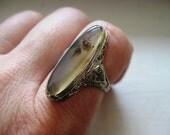 Sale--10k Vintage Art Deco White Gold Scenic Agate Ring