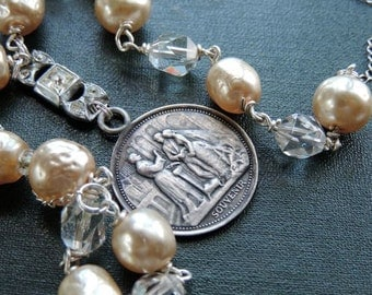 Antique Assemblage Necklace French Marriage Medal Ivory Colored Haskell Style FauxPearls Sterling Silver---I Do